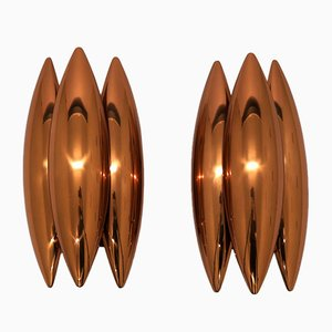 Copper Kastor Wall Lights by Johannes Hammerborg for Fog & Mørup, 1960s, Set of 2