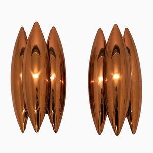 Lámparas de pared Kastor de cobre de Johannes Hammerborg para Fog & Mørup, años 60. Juego de 2