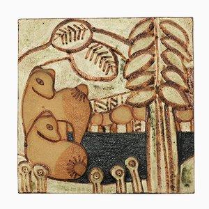 Mural de cerámica decorada vintage de Noomi Backhausen para Soholm Stoneware, 1981