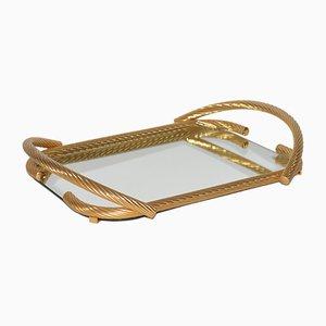 Bandeja de servicio italiana vintage de espejo y latón chapado en oro de 24 quilates