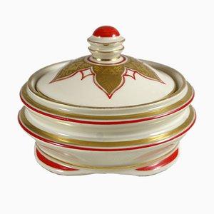 Art Deco Porcelain Bowl with Lid from Porzellanfabrik Königszelt, 1930s