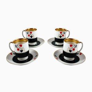Tea Cups with Saucers by Wincenty Potacki for Ćmielów, 1960s, Set of 4