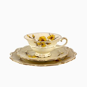 Porcelain Cup & Saucers Set from C. & E. Carstens Porzellanfabrik Sorau N. l., 1930s, Set of 3