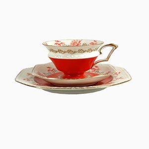 Art Deco Tea Cup & Plates from Reinhold Schlegelmilch Porzellanfabrik Tillowitz, 1930s