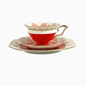 Tazza da tè Art Déco con piattini di Reinhold Schlegelmilch Porzellanfabrik Tillowitz, anni '30