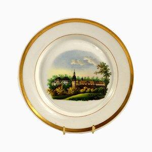 Antiker dekorativer Keilhau Teller von Krister Porzellan-Manufaktur