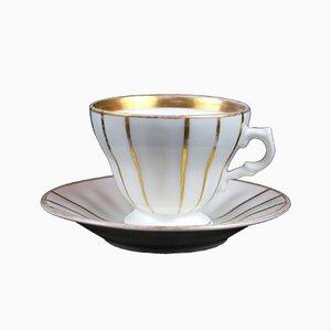 Antike Tasse und Untertasse von Krister Porzellan Manufaktur AG