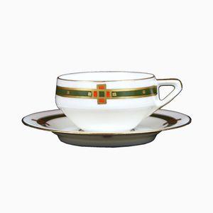 Jugendstil Teetasse mit Unterteller von Hermann Ohme, 1910er