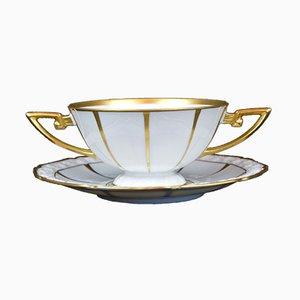 Scodella Art Deco in porcellana con piatto di Sorau Porzellan
