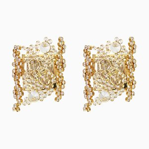 German Gilded Brass and Crystal Sconces from Palwa, 1960s, Set of 2