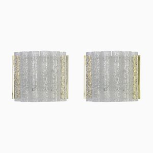 Brass and Iced Glass Wall Sconces from Doria, 1960s, Set of 2
