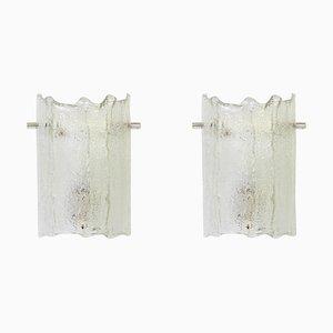 Applique in vetro di Murano smerigliato di Kaiser, anni '70, set di 2