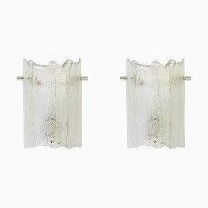Murano Iced Glass Sconces from Kaiser, 1970s, Set of 2