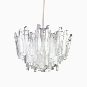 Large Murano Ice Glass Chandelier from Kalmar, 1960s