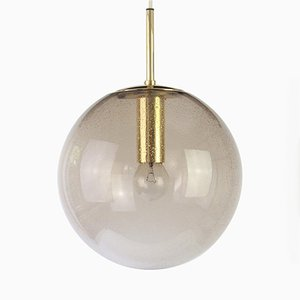 Limburg Brass with Smoked Glass Ball Pendant, 1970s