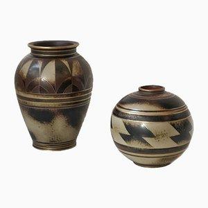 Flambé Vasen aus Steingut von Gunnar Nylund für Rörstrand