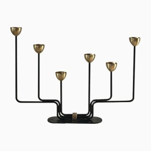 Sechsarmiger Kerzenhalter aus Messing von Gunnar Ander