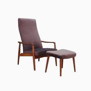 Dänischer Sessel und Fußhocker von Soren Ladefoged für SL Mobler, 1970er