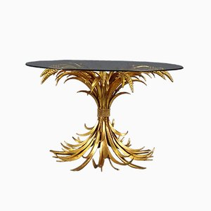 Golden Plated Floral Side Table, 1970s