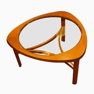 Dreieckiger Couchtisch mit Gestell aus Teak & Glasplatte von G-Plan, 1960er