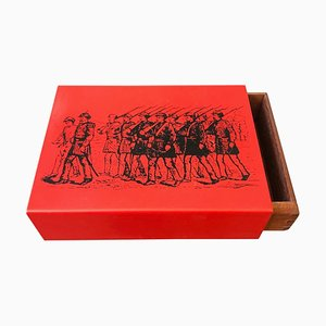 Mid-Century Modern Metal and Wood Card Box by Piero Fornasetti, 1960s