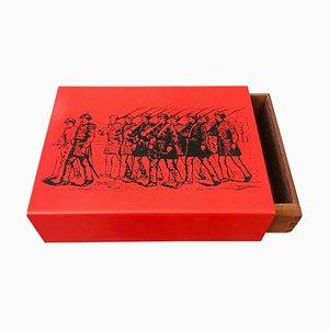 Moderne Mid-Century Schachtel aus Metall & Holz von Piero Fornasetti, 1960er