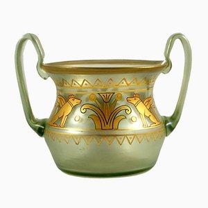 Vaso Goldcypern di Otto Thamm e Max Rade per Kunstglas Industrie Fritz Heckert, fine XIX secolo