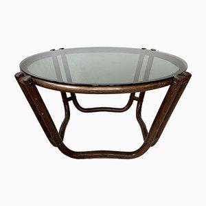 Tavolino da caffè vintage in bambù e vetro fumè, anni '70