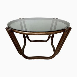 Vintage Bamboo & Smoked Glass Coffee Table, 1970s