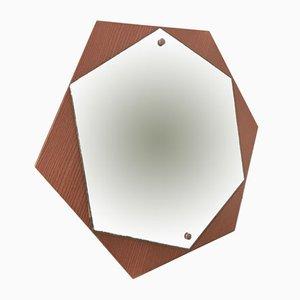Sechseckiger Vintage Spiegel, 1970er