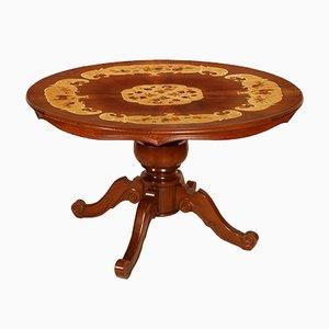 Tavolo rotondo neobarocco antico in legno di noce intarsiato