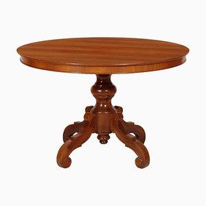 Tavolo rotondo barocco impiallacciato in noce, inizio XX secolo