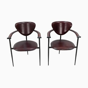 Black Cherry Leather Stiletto Armchairs from Arrben, 1972, Set of 2