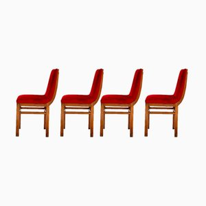 Vintage Rosewood & Velvet Side Chairs by Gino Levi Montalcini, 1940s, Set of 4
