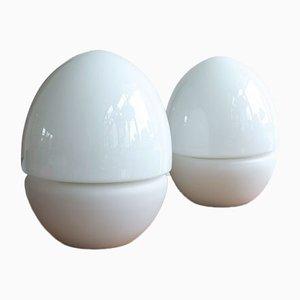Lámparas de mesa vintage en forma de huevo de vidrio de OPP JIhlava, años 60. Juego de 2