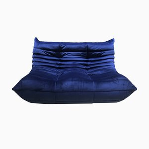 Blue Velvet Togo Sofa by Michel Ducaroy for Ligne Roset, 1970s