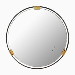 Mid-Century Italian Black Metal & Brass Wall Mirror