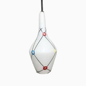 Lampada a sospensione in vetro opalino, anni '60