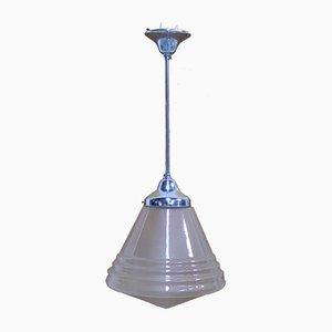 Lámpara de techo Art Déco de vidrio esmerilado, años 30
