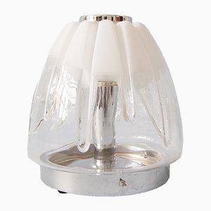 Lampada da tavolo vintage in metallo cromato e vetro di Murano, Italia