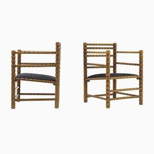 Spanish Beech Bobbin Chairs, 1940s, Set of 2