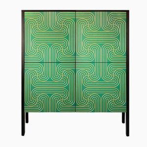 Mueble Loop con cuatro puertas en color esmeralda de Coucou Manou