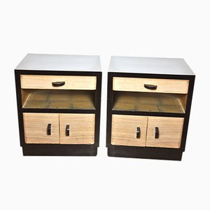 Art Deco Rosewood and Black Lacquered Wood Bedside Tables, 1940s, Sert of 2