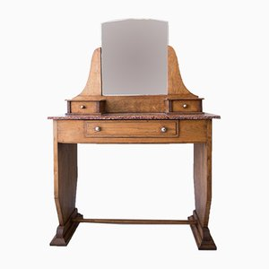 Vintage French Chestnut Modernist Dressing Table