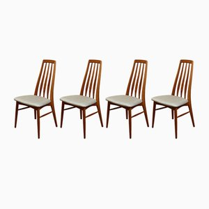 Mid-Century Danish Teak Eva Chairs by Niels Koefoed for Hornslet Møbelfabrik, 1960s, Set of 4