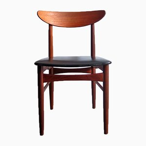 Danish Teak Chair with Black Leatherette Seat from Farstrup Møbler, 1950s