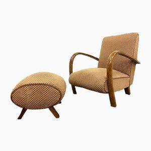 Vintage Italian Lounge Chair & Ottoman, 1950s