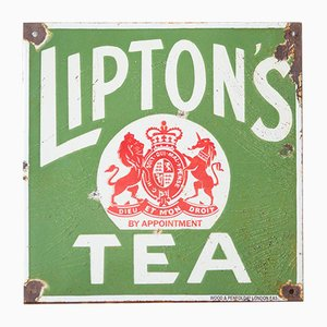 Cartel de Lipton's Tea vintage esmaltado