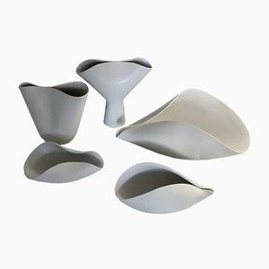 Veckla Ceramic Vessels by Stig Lindberg for Gustavsberg, Set of 5