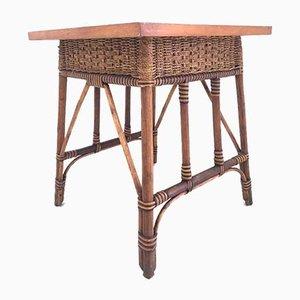 Tavolino da caffè Mid-Century in vimini, Italia, anni '50